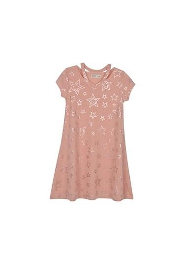 Silversun Kids Kız Genç Yıldız Baskılı Kısa Kollu Elbise Örme Elbise Ek 315919 Pembe